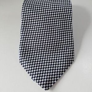 Robert Talbott dark navy white check tie